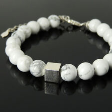 Men's Cube Stone Bracelet Yoga White Howlite Stones Sterling Silver Chain 1434M