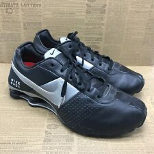 Nike Mens Shox 317547-004 Black Silver Leather Athletic Sneakers Lace Up Size 12