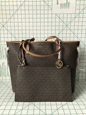 NWT Michael Kors Jet Set Travel Large Drawstring Tote Brown PVC Signature Bag