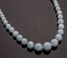 Milky Blue Aquamarine Graduated Strand Necklace 14K Yellow Gold-Filled 18 Inches