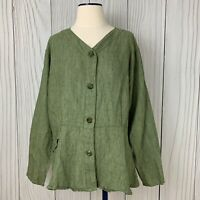 Flax Jeanne Engelhart Women's 100% Linen Green Button Peplum Top/Jacket. M