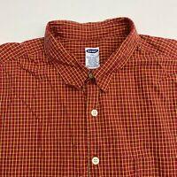 Old Navy Button Up Shirt Men's Size 2XL XXL Short Sleeve Red Orange Plaid Cotton