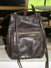 Leather Co. Liz Claiborne cute bucket crossbody brown leather bag Hippie BoHo!
