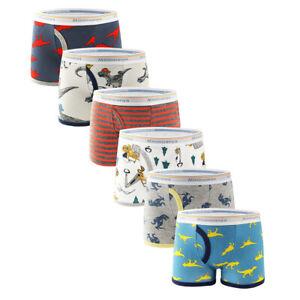 6 Pack Kids Underwear 100% combed Cotton Little Boys Boxer Briefs Toddler undies