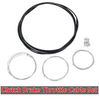 Universal Motorcycle Clutch Brake Throttle Cable Harness Black Outer Cable Kit