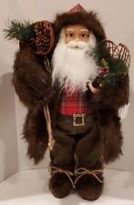 New Christmas Rustic Lodge Style Woodland St. Nick Santa Claus Fur Coat Boots