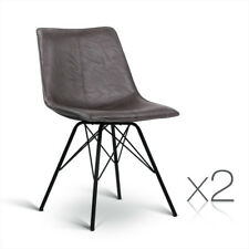 2xretro Artiss Eames Dining Chair Vintage DSW Cafe Slope PU Leather Walnut 8011