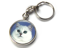 BRITISH SHORTHAIR PURE WHITE Cat Quality Chrome Keyring Picture Both Sides