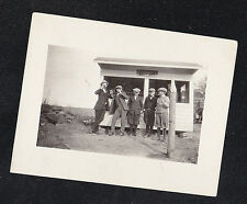 Vintage Antique Photograph Group of Young Men in Hats w/ Drinks By Tiny Stand