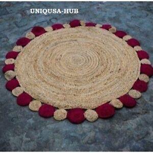 Rug 100% Natural Jute Braided Style Round Rug Reversible Modern Rustic Look Rugs