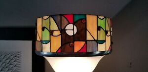 Stained Cut Glass Lamp Shade  Multicolored