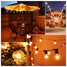 More details for 25/50ft globe outdoor garden festoon fairy string lights 50 bulbs g40 mains powe