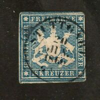 Wurttemberg stamp #18, used, no threads in paper, 1860 cancellation, SCV $1450