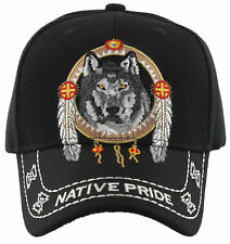 NEW! NATIVE PRIDE INDIAN AMERICAN WOLF FEATHERS CAP HAT BLACK