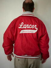 "Vintage 80s Red Quilt Lined ""Coach Thomas"" Lancer Letterman BASEBALL JACKET L-XL"