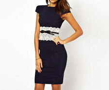 Bodycon Dark Blue White Waist Lace Short Sleeve Dress With Belt