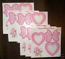Pink Hearts Roses Room Decorative Stickers Decals Peel & Stick Girls Room