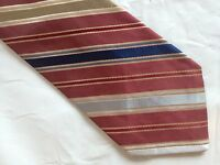 Mens Red Brown Blue Polyester Tie Necktie BEAU BRUMMELL ~(2524) FREE US SHIP