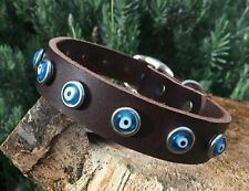 "Dog Collar Evil Eye 17-22"" Large Leather Handmade USA by Dogtown"