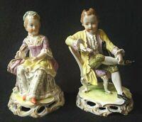 German Dresden Porcelain Man Reading Woman Seated Figurine Pair by Carl Thieme