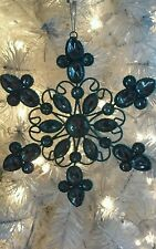 "Gorgeous 6.5"" Metal Teal Blue & Silver Shiny Snowflake Christmas Ornament! Sweet"
