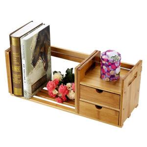 Bamboo Desk Storage Organizer Adjustable Desktop Display Shelf Rack With 2