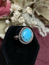 Cab of Turquoise Ring size 5 Excellent Vintage Navajo Sterling Silver Round