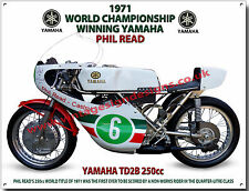 PHIL READ'S 1971 WORLD CHAMPIONSHIP WINNING YAMAHA TD2B MOTORCYCLE METAL SIGN.