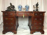 Fine Vintage Original Luxury Camerin Double Sided Mahogany Partners Office Desk