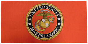 USMC United States Marine Corps Emblem Red 30 x 60 Beach Towel 100% Polyester