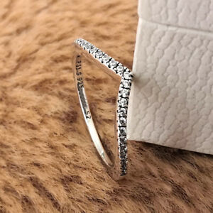 Authentic 925 Sterling Silver Shimmering Sparkling Wishbone Ring Clear CZ NEW