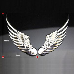 2x 3D Angel Hawk Wings Car Chrome Metal Emblem Sticker Decor Accessories