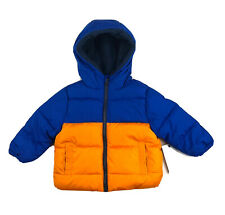 SWISS TECH Puffer Hoodie Jacket Toddlers Boys Size 12 Months Orange and Blue
