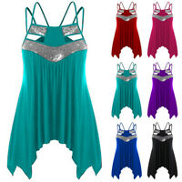 Women Sequins Strappy Tank Top Ladies Casual Irregular Loose Camisole Vest S-5XL