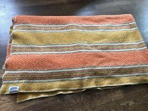 Vintage Amana Mills Wool Nordic Blanket Orange and Light Brown 70x100 USA