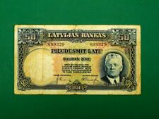 More details for latvia 1934, 50 latu collectable banknote. fine