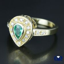 Cocktail Ring & Right Hand Ring 14Kyg Natural 0.78 Ct Pear Cut Emerald & Diamond