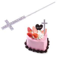 """5"""" Diamante Rhinestone Religious Cross Cake Pick Topper for Baptism Christening"""