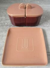 Old Vintage Art Deco Franciscan Ware Pottery Square Plate and Condiment Set