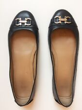 Ferragamo Black Flats Loafers US 5.5 -6 silver buckle Italy Authentic