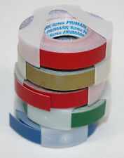 5 Rolls Vtg Label Maker Tape Rotex Avery 38 Adhesive Red Green Gold Blue Lot