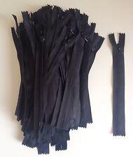 lot 100 fermeture éclair nylon 16cm non séparable noir mercerie couture zipper