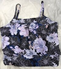 NWT Size 24W SHAPE SOLVER SWIMSUIT Tankini Top ONLY Black Blue White Floral $84