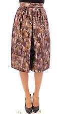 NWT $1400 DOLCE & GABBANA Brown Floral Silk Straight Full Skirt Gonna IT44 US10