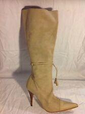 Solo Beige Knee High Leather Boots Size 40