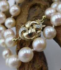 Schimmernde Perlen Halskette mit 585 Gelbgold und Diamanten