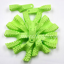 50 Pcs Dental Disposable Plastic Impression Trays Perforated Autoclavable Green