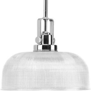 Progress Lighting Archie Collection 1-Light Chrome Pendant with Clear Prismatic