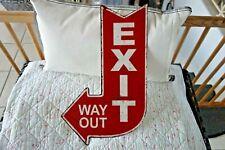 Shabby Blechschild Exit Way Out Rot Weiß Richtungspfeil Retro Stil 40 x25 cm NEU