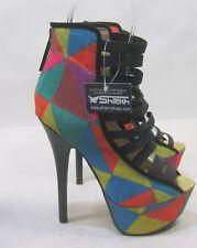 """Multi Color 6"""" Stiletto Heel 1.5"""" Platform Open Toe Ankle Strap Shoes Size 8.5"""